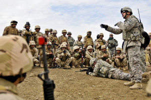 US troops training Iraqis in Mosul before Islamic State forces captured the city. Image Credit: DOD