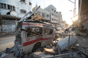 An ambulance destroyed be Israel's precision airstrikes in 2014. Photo: Boris Niehaus