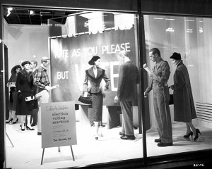 "Image Source: ""Window display promoting election voting, Dayton's, Minneapolis"" by Minnesota Historical Society"