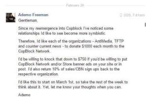 Screenshot alleged to show prominent Cop Blocker demanding donations. Image source: Facebook