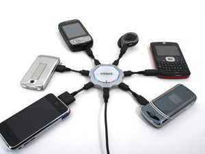 """Cell phones. """"Chargepod 2"""" by Mmckinley - Own work. Licensed under Public Domain"""