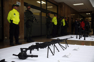 A display of weapons seized from Colombian paramilitaries in an unrelated event.