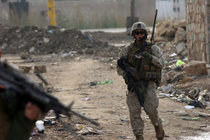 US Marine in Ramadi, Iraq in 2006.  Image Source DOD