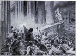 The Burning of the Library at Alexandria in 391 AD (Creative Commons)
