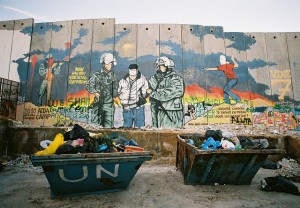 The isareli defence barrier surrounding the Aida refugee Camp in Bethlehem , Palestine. Image Source: Michele Benericetti, Flickr, Creative Commons