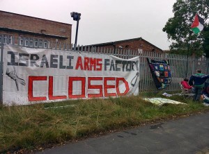 Protest at Israeli arms factory  Image Source: @Stopthearmsfair on Twitter
