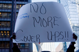 Charles Edward Miller, Flickr A sign held during the Laquan McDonald protests demanding Jason Van Dyke be convicted of murder.