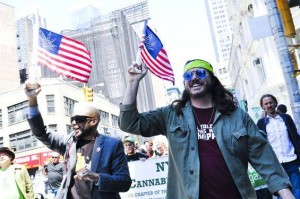Brenton Lengel and George Martinez leading the annual Marijuana March, NYC 2014