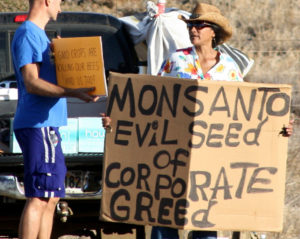 "A Monsanto protester holds up a sign reading ""Monsanto: Evil Seed of Corporate Greed."""