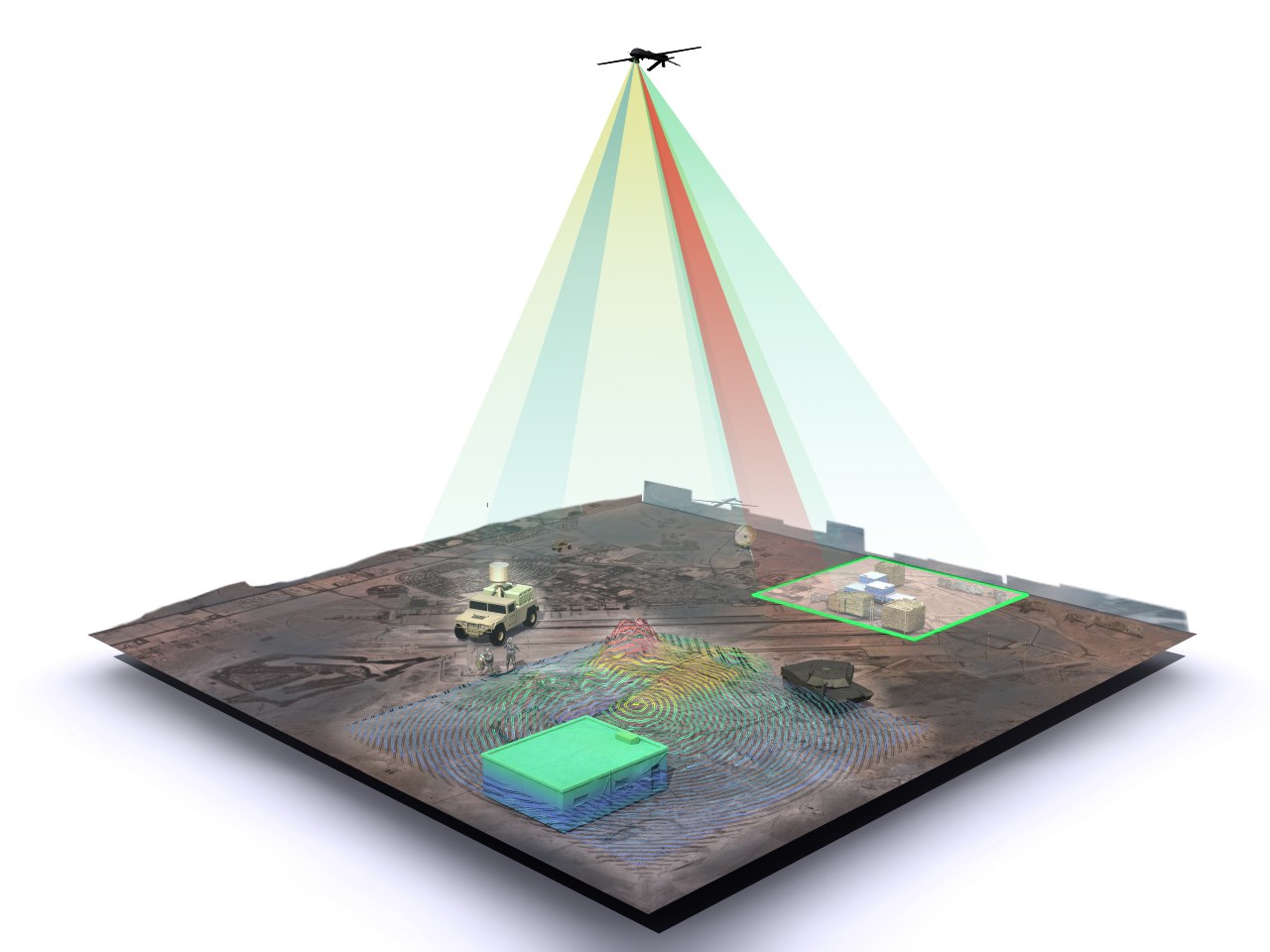 This artist's rendition depicts a single imaging sensor, in this case one that is aboard an unmanned aerial vehicle, simultaneously operating in three potential ReImagine modes—3D-mapping at the lower left, vehicle detection and tracking, and thermal scanning for industrial activity—in different regions of the same field of view. Today a single camera cannot do all of these things. (DARPA)
