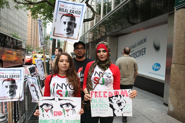 Members of New York City Students for Justice in Palestine and other supporters of Palestinian political prisoner Bilal Kayed, an 'administrative detainee', protest on his 42nd day of hunger strike (25 July 2016). Joe Catron under a Creative Commons Licence