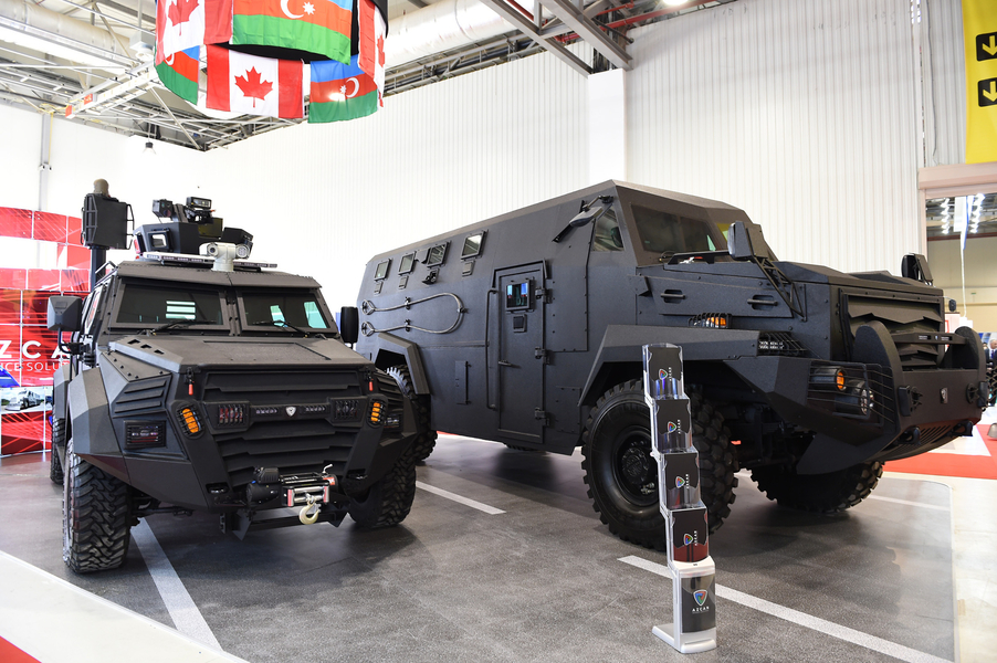 Armored vehicles manufactured by an Azerbaijani-Canadian joint venture on display at Azerbaijan's defense exposition, ADEX-2016, at the end of September. With an array of new, domestically produced weapons, including sniper rifles, machine guns, armed drones, and armored vehicles, Azerbaijan is showcasing its arms industry amid growing tensions with neighboring Armenia. (Photo: Azerbaijani Presidential Press Service)