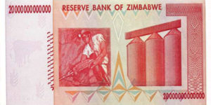 Old 20 trillion dollar demonetised banknote of Zimbabwe, Public Domain, Wikimedia Commons